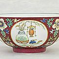 A famille rose ruby-ground 'medallion' bowl , daoguang six-character seal mark in underglaze-blue and of the period (1821-1850)