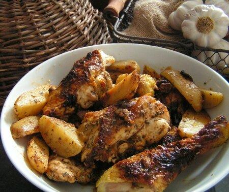 poulet au thym, romarin, miel et citron (8)
