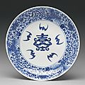 A blue and white 'shou' dish, yongzheng mark and period
