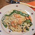 Risotto aux crevettes et pois gourmands : cuisson au four