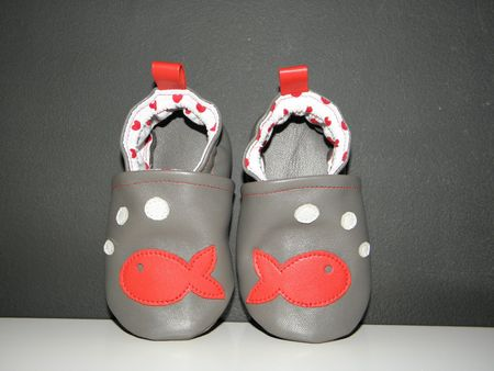 chaussons poisson coeur rouge 002