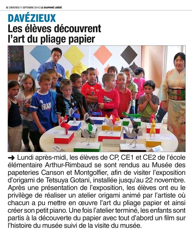 article de journal 17092014 Expo origami Tetsuya au musee Canson