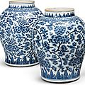 A pair of large blue and white 'peony meander' vases, qing dynasty, kangxi period (1662-1722)