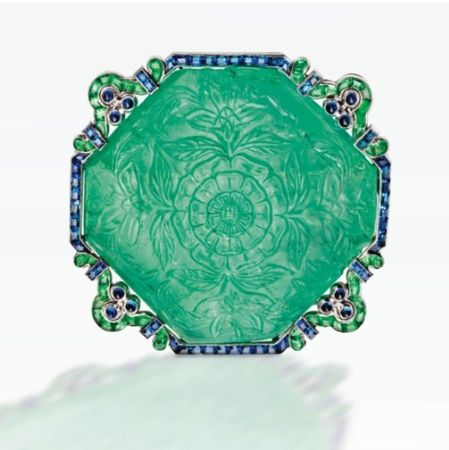 A_VERY_RARE_PLATINUM__CARVED_EMERALD__EMERALD_AND_SAPPHIRE