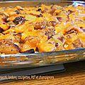 Gratin de gnocchi, lardons, pdt, courgettes et champignons