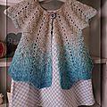 Gilet pétales en gradient et robe trapèze