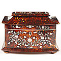 A 19th century tortoiseshell tea caddy