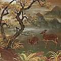 Dinh minh (20th century), a landscape with deer, 1955