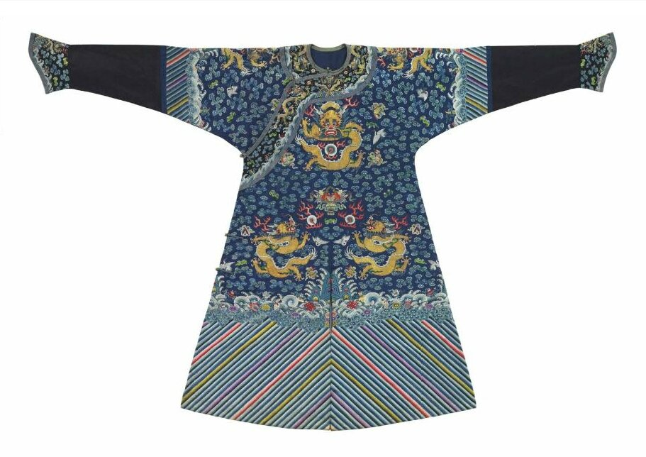 A very fine embroidered blue-ground dragon robe, mangpao, 19th century