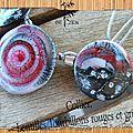 collier lentilles tourbillons rouges et grises 4