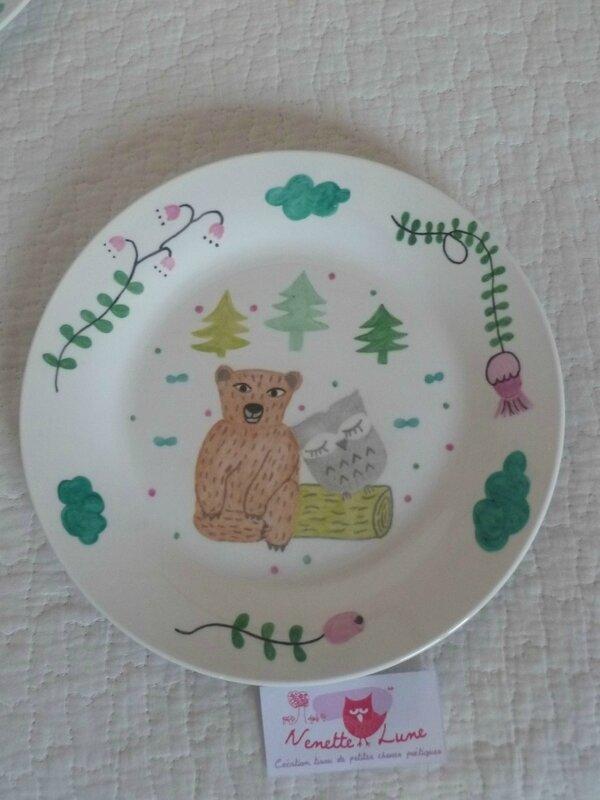 assiette ours et chouette