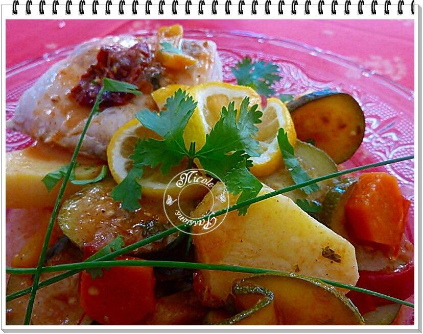 Tajine de cabillaud aux légumes et citron confit, safran et coriandre....
