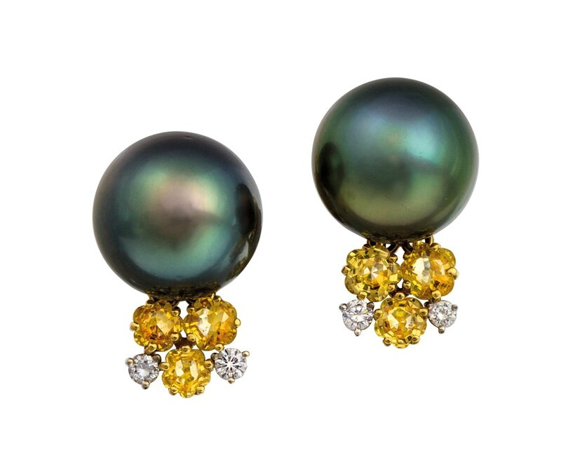 Pair of 18ct gold, South Sea pearl, yellow sapphire and diamond earrings