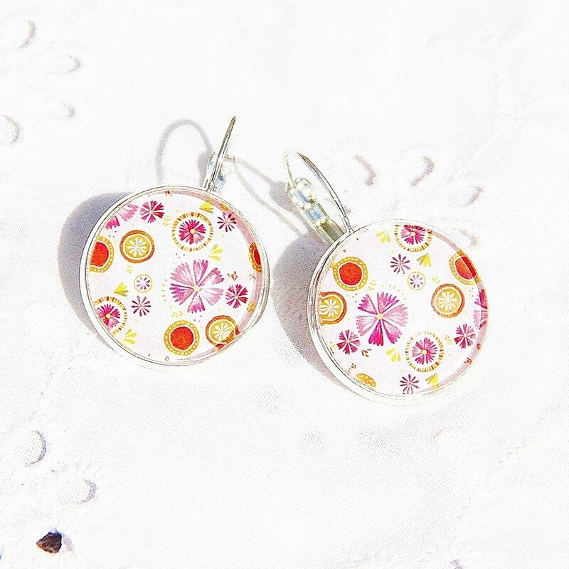 aniya 23 boucles d'oreilles fleuries roses oranges vabochons argentées bijoux colorés louise indigo (4)