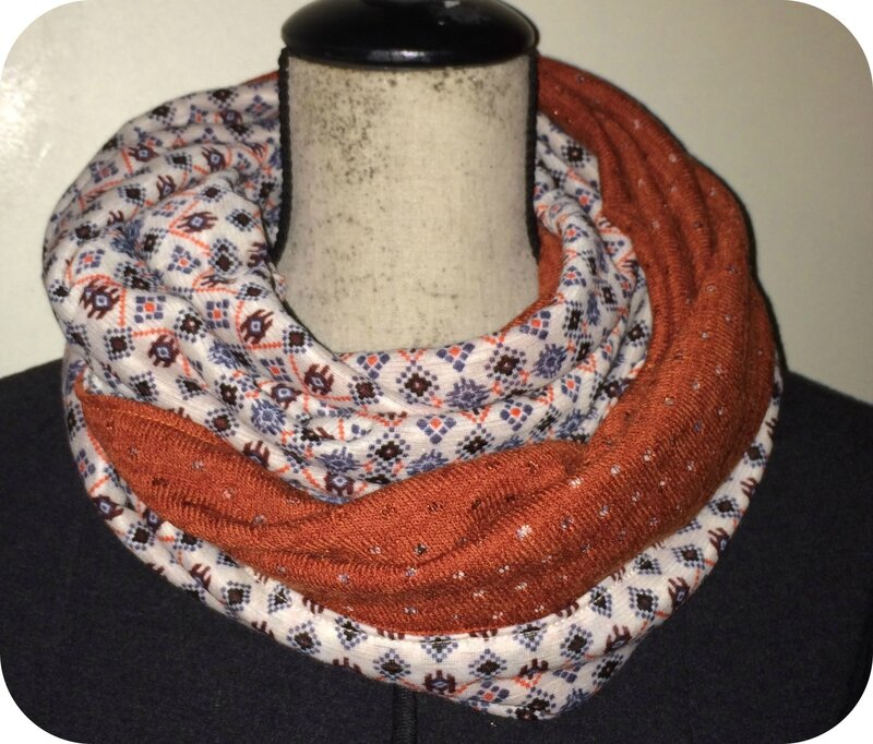 snood lainage motif et rouille