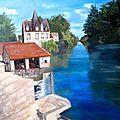 Moret-sur-loing (huile sur toile) 65 x 54 cm