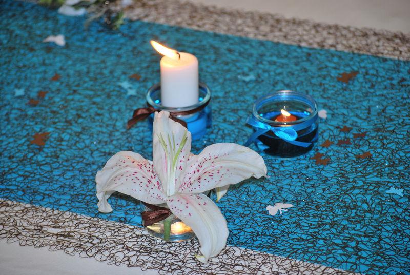 du colorant alimentaire turquoise pour leau qui ma permis de disposer les bougies - Colorant Eau Vase