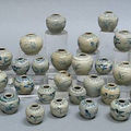 A group of thirty-two blue and white jarlets. Late 15th/Early 16