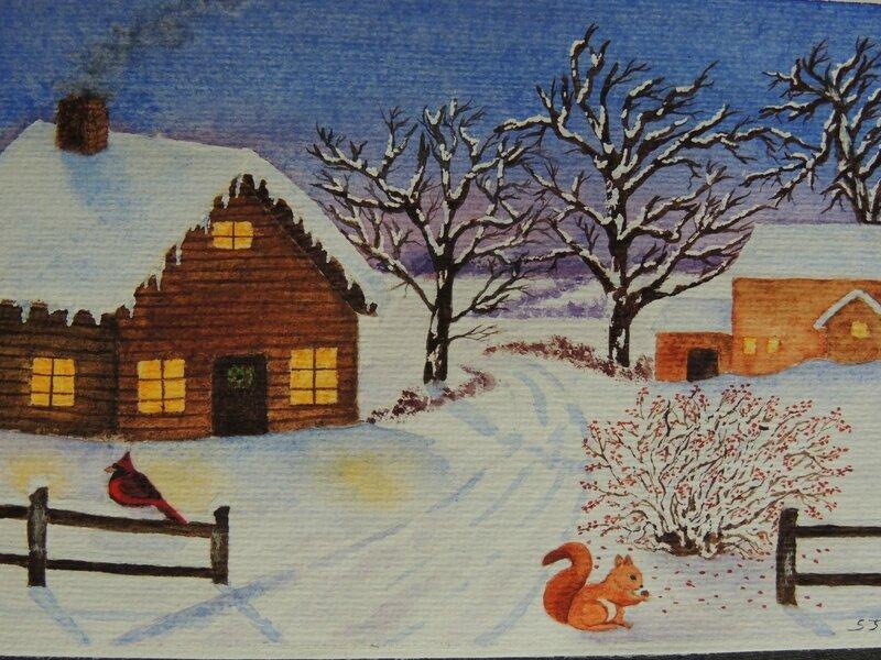 aquarelle paysage de no l sous la neige ely cr ations