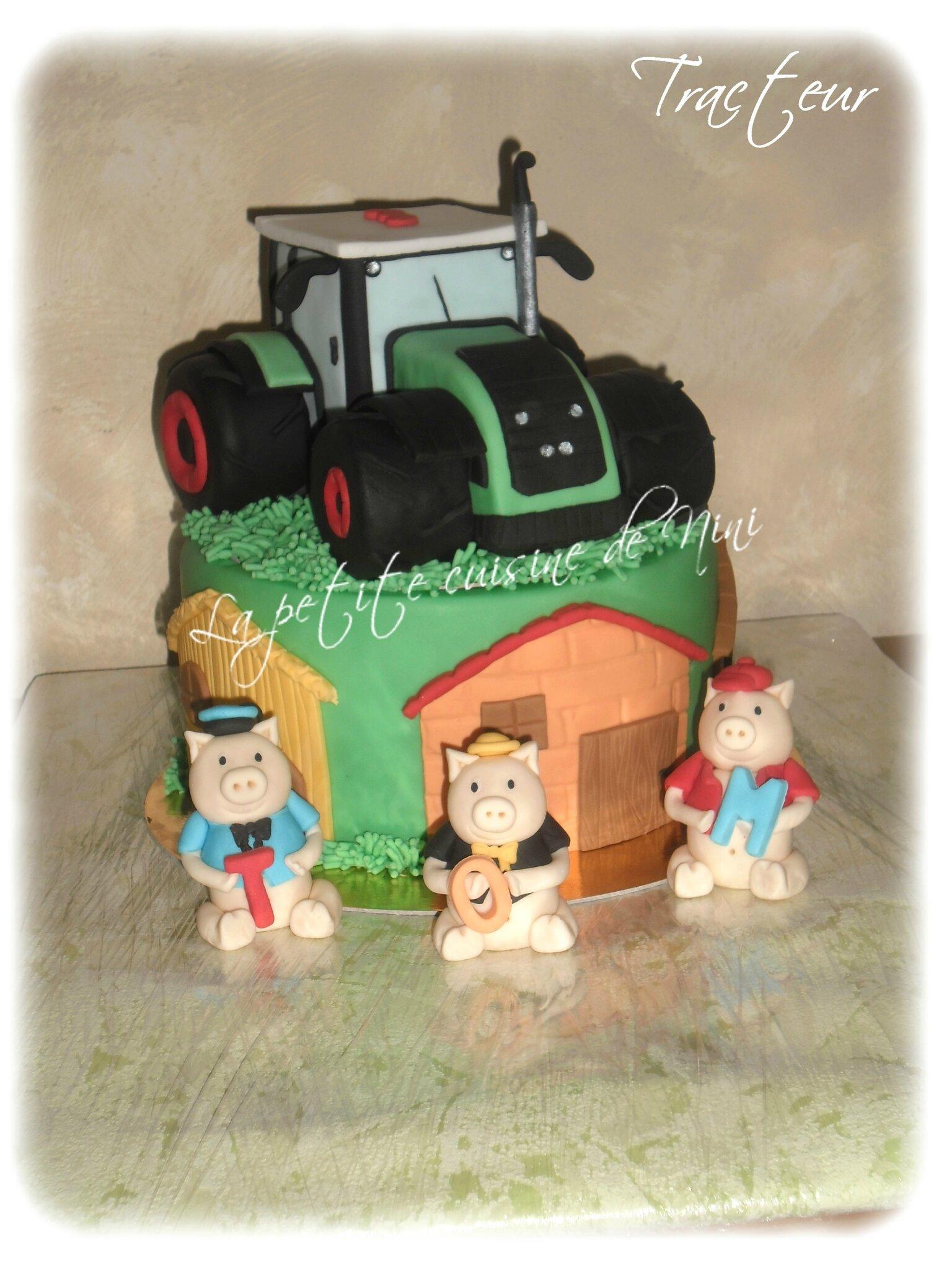 """Gâteau """"les 3 petits cochons"""" et tracteur"""