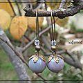 Grandes boucles d'oreilles en bronze et pierres semi précieuses jaspe