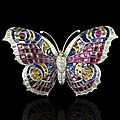 Art deco peacock butterfly brooch, circa 1935