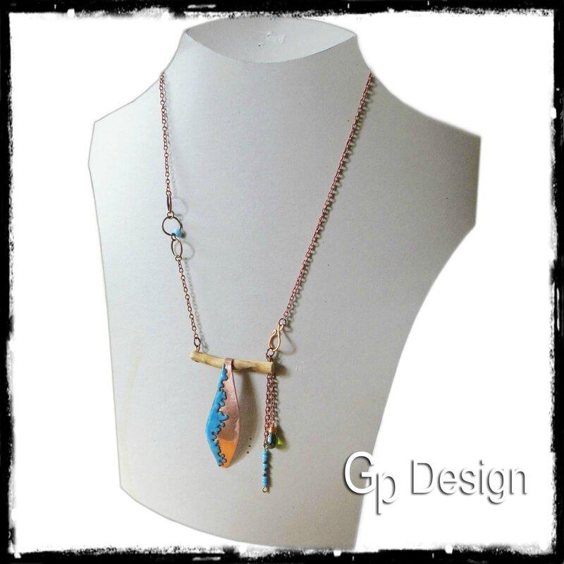 Bijoux collier collection design nature émaux sur cuivre