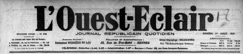 Ouest Eclair 1 août 1914_1