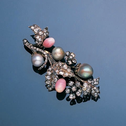 A late 19th century diamond, conch pearl and pearl brooch, circa 1890
