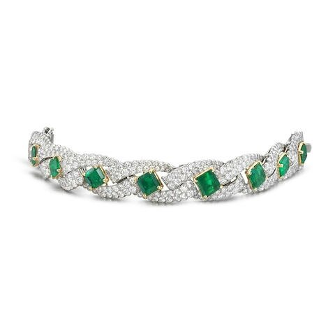 A fine emerald and diamond bracelet, by Cartier, circa 1960