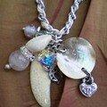 nacre coquillage quartz rose et Swarovski