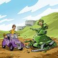 2cv mont canisy tank cassé debarquement dessin humour pays auge