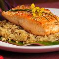 Pavé de saumon et timbale camarguaise