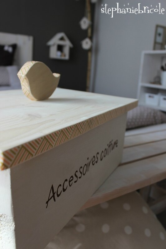 diy boite en bois couvercle oiseau ranger mes. Black Bedroom Furniture Sets. Home Design Ideas