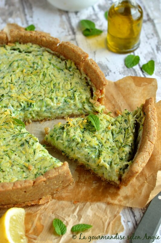 quiche vegan courgette citron menthe 1