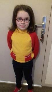 mélinda - pull jaune et rouge
