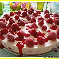 Cheesecake aux framboises et chocolat blanc