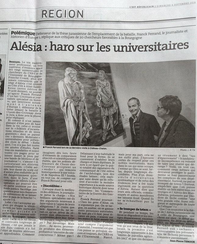 article ER Alesia, haro sur les universitaires
