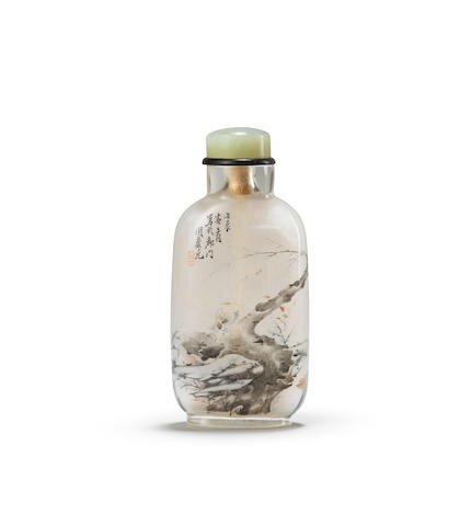 An inside-painted glass snuff bottle. Signed Zhou Leyuan, cyclically dated renchen year corresponding to 1892
