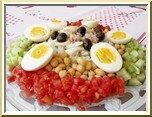 0372- salade de morue, pois chiches et crudités