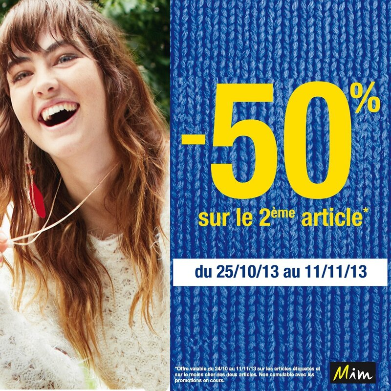 -50% sur le second article sur mim.fr