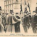 21 janvier 1914, remise de la légion d'honneur aux lieutenants aviateurs max boucher et alexandre gourlez
