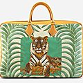 Hermès 60cm vache naturelle & tigre royal linen travel plume bag, 1997