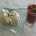 Glace au romarin et soupe de fraises à la menthe