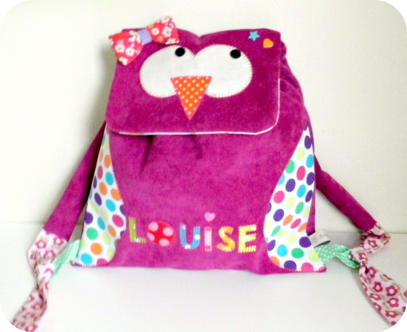 Sac Hibou rose fuchsia Louise