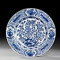 Grand plat en porcelaine bleu blanc, Chine, Dynastie Qing, XVIIIme sicle