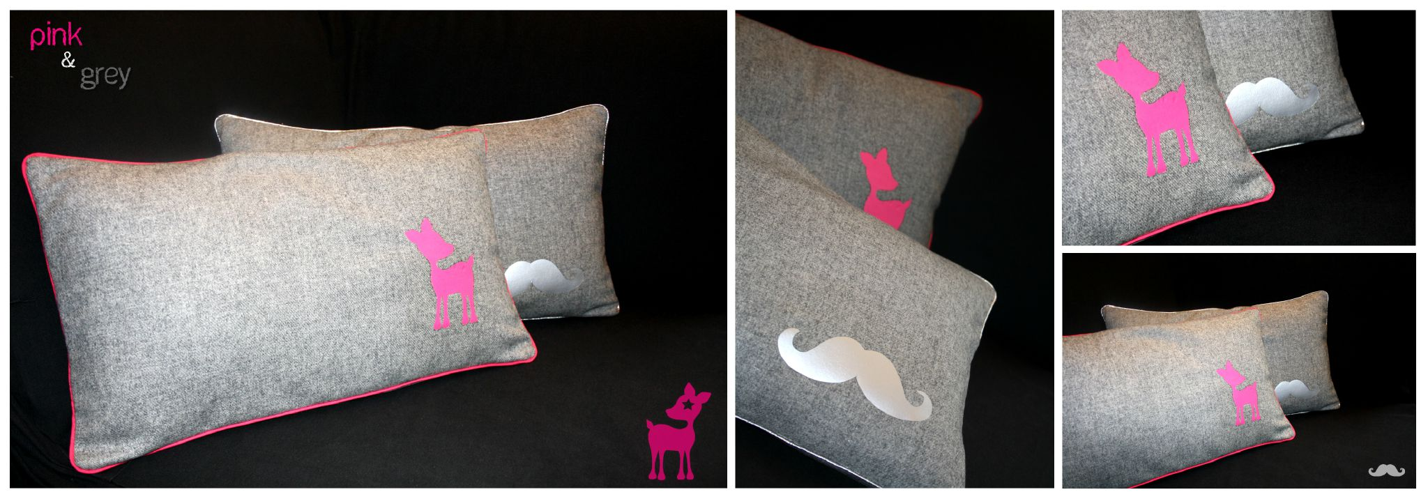Pink grey lafeelafee for Patron housse coussin rectangulaire