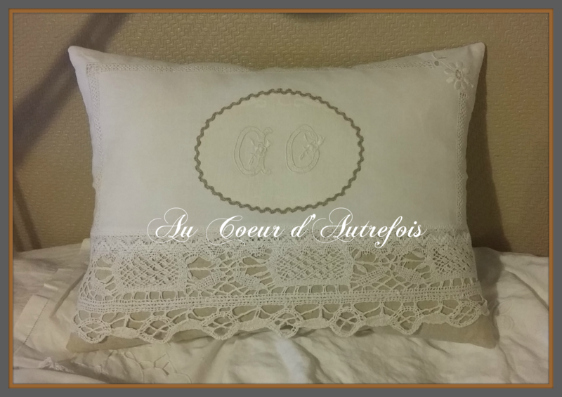 Coussin Shabby blanc S