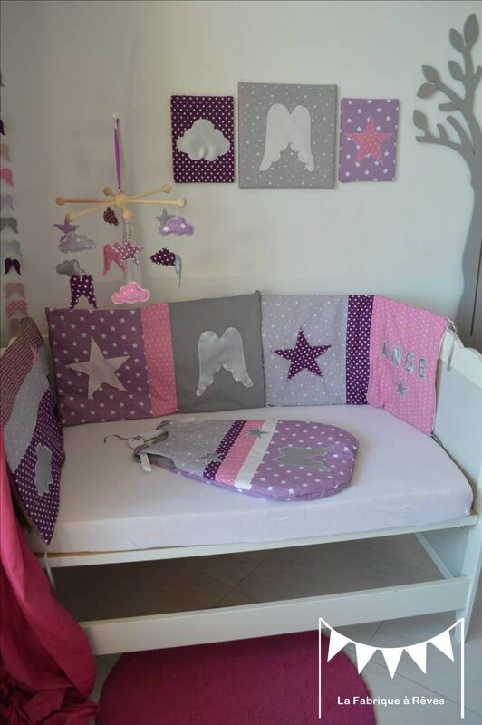 Tour de lit bb mauve beautiful meubles et linge de for Chambre bb modulable