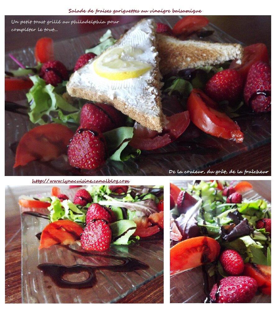 salade repas aux fraises tomates et toast au philadelphia lyna cuisine. Black Bedroom Furniture Sets. Home Design Ideas
